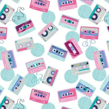 Retro Blast Cassettes White Cassette Tapes Music Mixtape Tape Deck Cotton Fabric