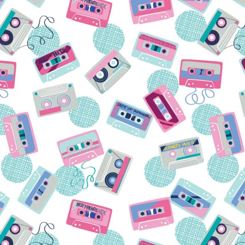 Retro Blast Cassettes White Cassette Tapes Music Mixtape Tape Deck Cotton F