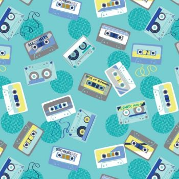 Retro Blast Cassettes Aqua Cassette Tapes Music Mixtape Tape Deck Cotton Fabric