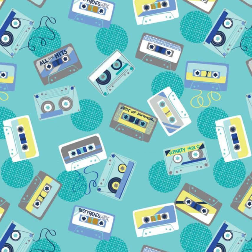 Retro Blast Cassettes Aqua Cassette Tapes Music Mixtape Tape Deck Cotton Fa