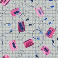 Retro Blast Headphones Grey Walkman Cassette Tapes Music Mixtape Tape Deck Cotton Fabric