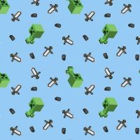 Mojang Minecraft Mini Mob Creeper Blue Sword Geometric Multi Gamers Video Game Cotton Fabric