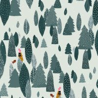 Girl's Club Another Adventure Spruce Trees Dog Walking Woods Piet En Kees Cotton Fabric