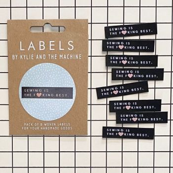 """Kylie and the Machine """"SEWING IS THE F**KING BEST"""" Woven Labels 8 Pack"""
