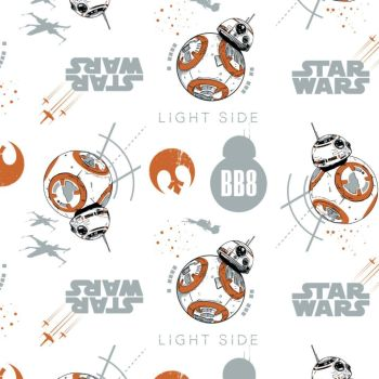 Disney Star Wars Last Jedi BB-8 Droids Portraits X-Wing Rebel Alliance Rebellion Cotton Fabric