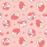 Disney Forever Princess Little Mermaid Ariel Flounder Coral Frames Cotton Fabric
