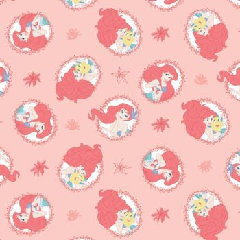 Disney Forever Princess Little Mermaid Ariel Flounder Coral Frames Cotton Fabric