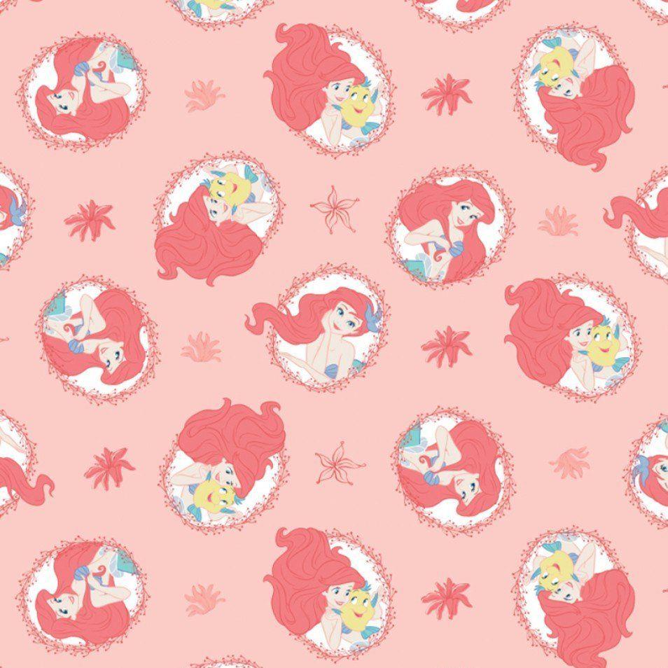 Disney Forever Princess Little Mermaid Ariel Flounder Coral Frames Cotton F