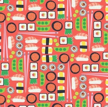 Sushi Pink Coral Ngiri Maki Fish Japanese Food Restaurant Eating Timeless Treasures Cotton Fabric