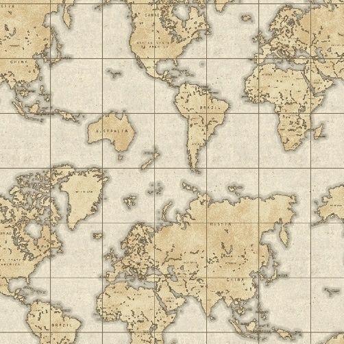 Whistler Studios Seven Seas World Map Almond Travel Adventure Cotton Fabric