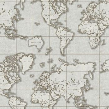 Whistler Studios Seven Seas World Map Grey Travel Adventure Cotton Fabric