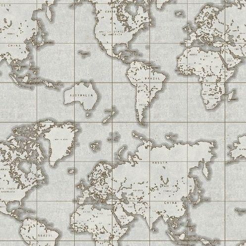 Whistler Studios Seven Seas World Map Grey Travel Adventure Cotton Fabric