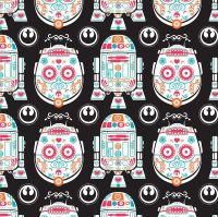 RARE UK Exclusive Star Wars Sugar Skulls Characters Droids R2-D2 C3-P0 Droid DELUXE Cotton Fabric
