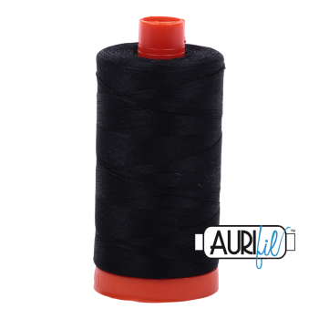 Aurifil 50wt Cotton Thread Large Spool 1300m 2692 Black