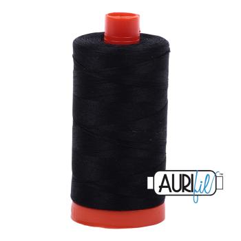 Aurifil 50wt Cotton Thread Large Spool 1300m 2692 Black