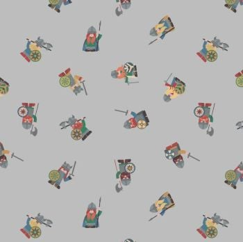 Viking Adventure Vikings on Grey Nursery Cotton Fabric