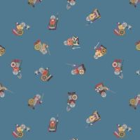Viking Adventure Vikings on Dark Grey Blue Nursery Cotton Fabric