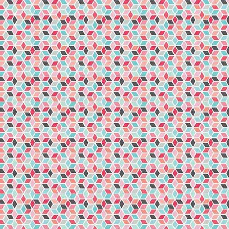 Paper Daisies Geometric Pink Diamonds Cotton Fabric