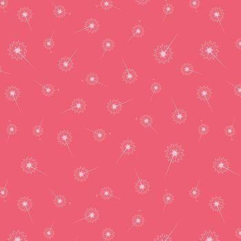 Paper Daisies Dandelion Dark Pink Dandelions Seed Head Botanical Cotton Fabric