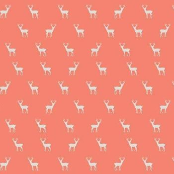 Golden Days Deer Coral Tiny Stag Cotton Fabric