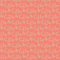 Golden Days Hello Coral Text Heart Cursvie Script Cotton Fabric