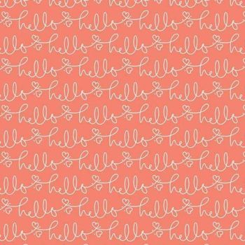 Golden Days Hello Coral Text Heart Cursive Script Cotton Fabric
