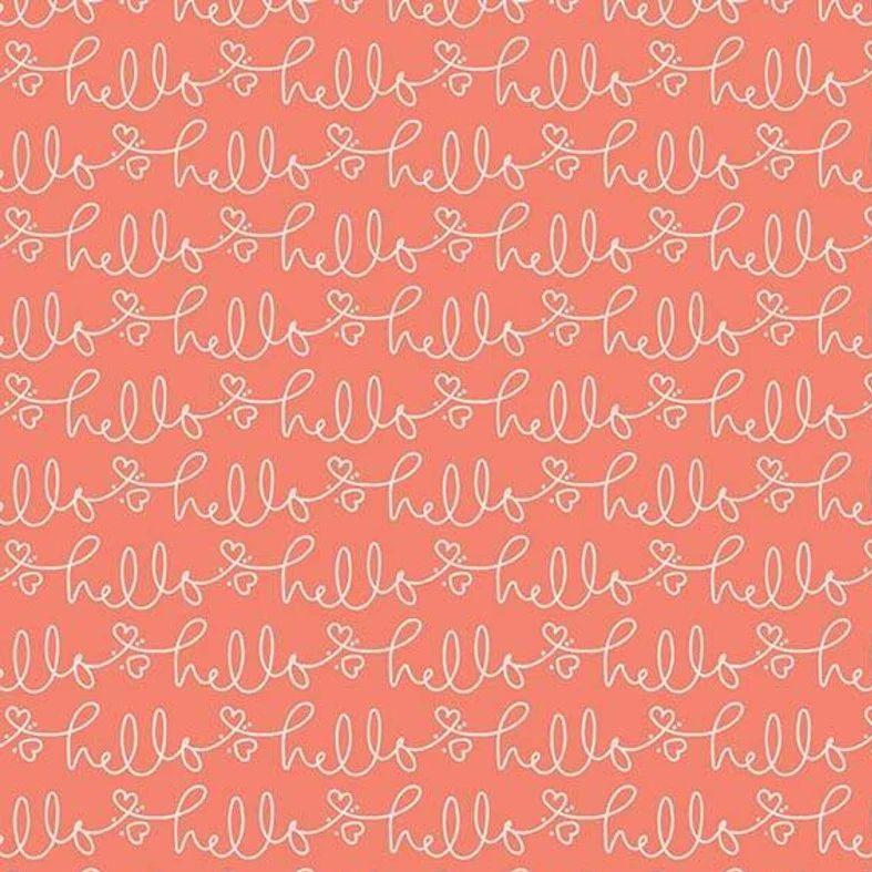 Golden Days Hello Coral Text Heart Cursvie Script Cotton Fabric