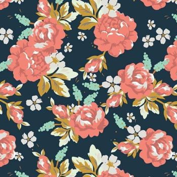 Golden Days Main Navy Floral Rose Flowers Cotton Fabric