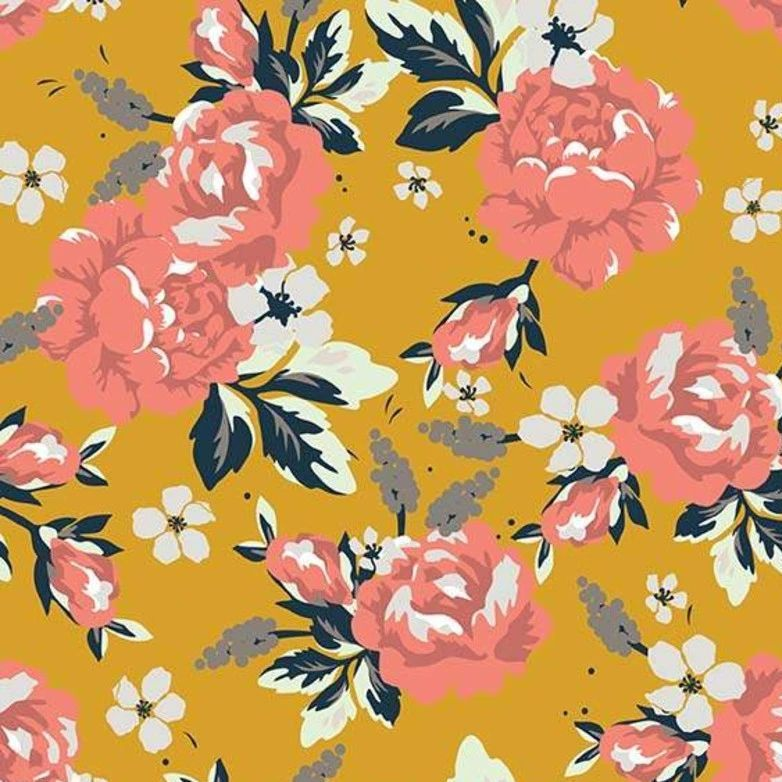 Golden Days Main Mustard Floral Rose Flowers Cotton Fabric