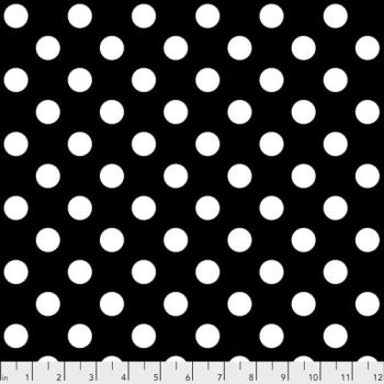 Tula Pink LINEWORK Pom Poms Ink Black White Spot Geometric Blender Cotton Fabric
