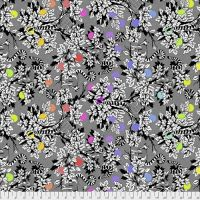 Tula Pink LINEWORK Lemur Me Alone Ink Lemurs Monochrome Cotton Fabric