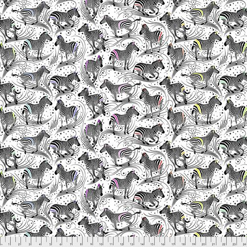 PRE-ORDER Tula Pink LINEWORK Read Between The Lines Paper Zebra Monochrome