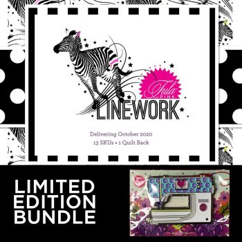 PRE-ORDER LIMITED EDITION with Enamel Machine Pin Tula Pink LINEWORK 13 Fat Quarter Bundle Cotton Fabric Cloth Stack Full Collection