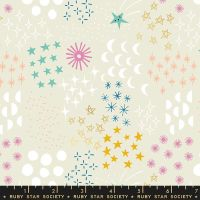 Stellar Final Frontier Natural Geometric Metallic Gold Ruby Star Society Rashida Coleman-Hale Cotton Fabric