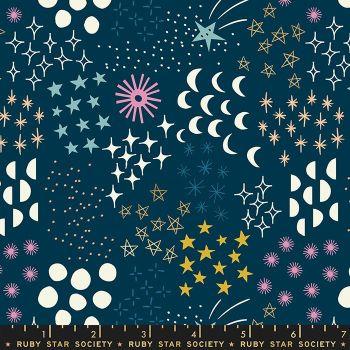 Stellar Final Frontier Dark Teal Geometric Metallic Gold Ruby Star Society Rashida Coleman-Hale Cotton Fabric