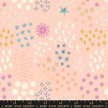 Stellar Final Frontier Pale Peach Geometric Metallic Gold Ruby Star Society Rashida Coleman-Hale Cotton Fabric