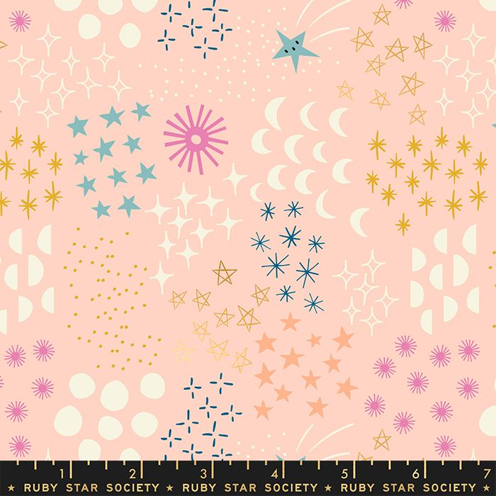 Stellar Final Frontier Pale Peach Geometric Metallic Gold Ruby Star Society