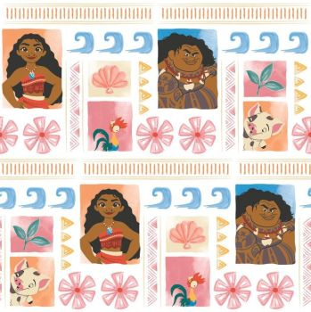 Disney Moana Maui Hei Hei Pua Polynesia Shell Wave Tropical Cotton Fabric per half metre