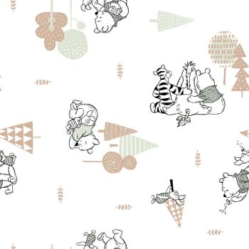 Disney Winnie the Pooh and Friends Mini Print Nursery Character Woodland Always By Your Side White Cotton Fabric