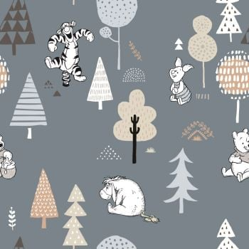 Disney Winnie the Pooh and Friends Wonder & Whimsy Trees Dusky Blue Nursery Character Woodland Cotton Fabric