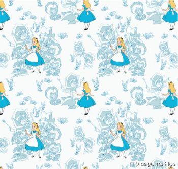 Disney Classics Golden Afternoon Flowers Blue Alice in Wonderland Lewis Carroll Character Cotton Fabric