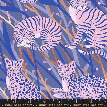Airflow Cat in the Grass Twilight Metallic Cats Ruby Star Society Sasha Ignatiadou Cotton Fabric