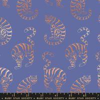Airflow Tiger in the Taiga Twilight Metallic Cats Ruby Star Society Sasha Ignatiadou Cotton Fabric