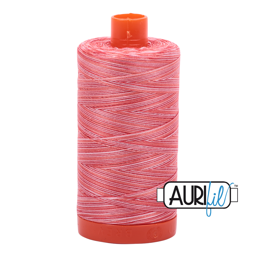 Aurifil 50wt Variegated Cotton Thread Large Spool 1300m 4668 Strawberry Par