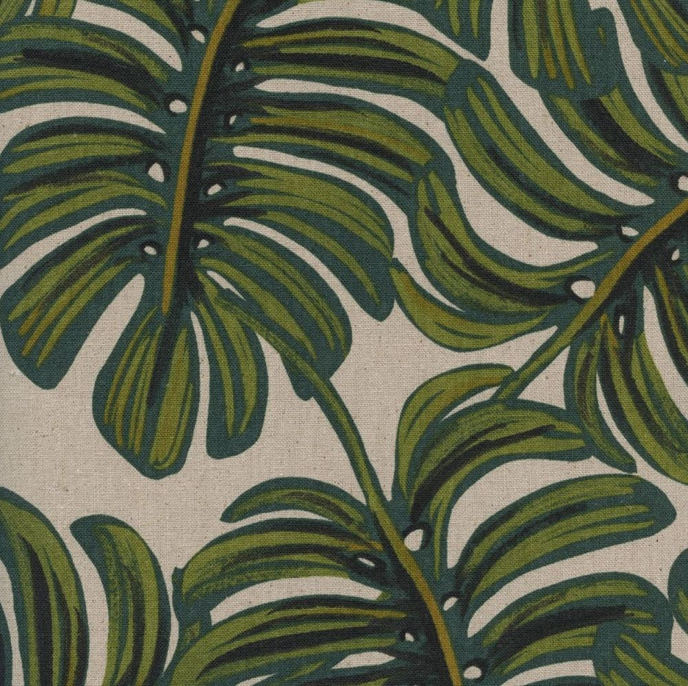Rifle Paper Co Menagerie Monstera Natural Leaves Botanical Cotton Linen Can
