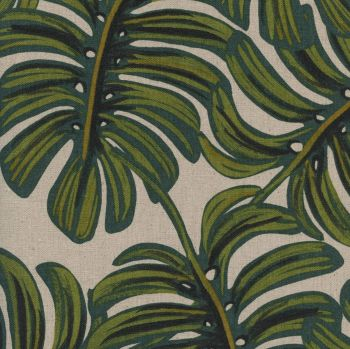 Rifle Paper Co Menagerie Monstera Natural Leaves Botanical Cotton Linen Canvas Fabric