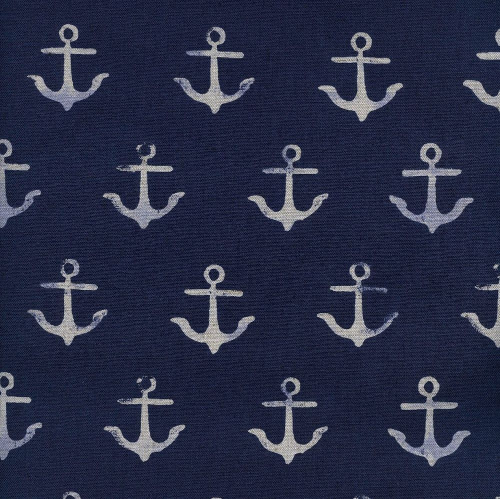 RARE S.S. Bluebird Anchor Navy Melody Miller Nautical Anchors Cotton and St