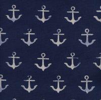 RARE S.S. Bluebird Anchor Navy Melody Miller Nautical Anchors Cotton and Steel Cotton Linen Canvas Fabric