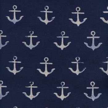 RARE S.S. Bluebird Anchor Navy Melody Miller Nautical Anchors Cotton and Steel Cotton Linen Canvas Fabric