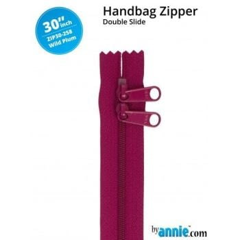 "By Annie 30"" Handbag Zipper Double Slide Wild Plum Zip"